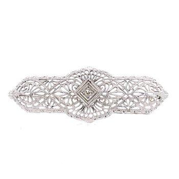 Diamond & Filigree Brooch