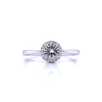 White Topaz and Diamond Halo Ring