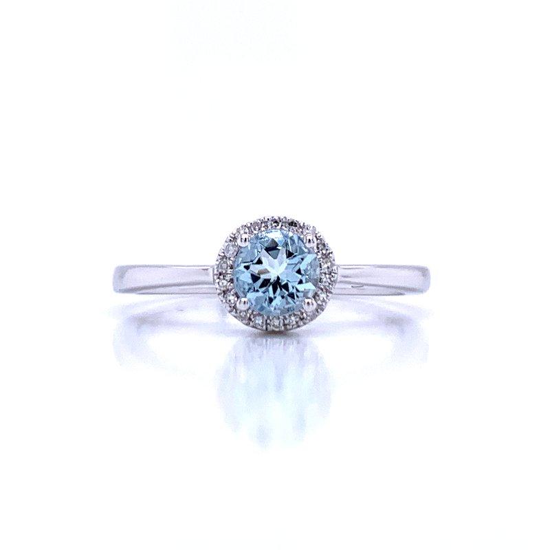 Bryan Beauties Aquamarine and Diamond Halo Ring