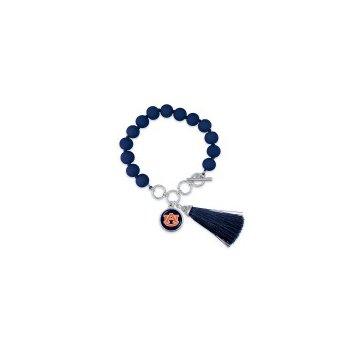 "Beaded Toggle Bracelet with ""AU"" charm and Tassel"