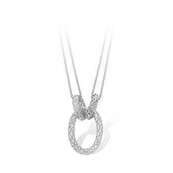 Interlocking Pierced Oval Link Sterling Necklace