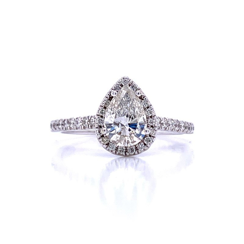 Bryan Beauties Pear with Halo Engagement Ring