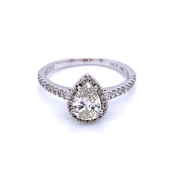 Pear with Halo Engagement Ring