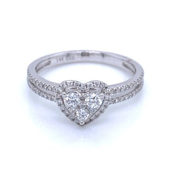 Heart Shaped Cluster Diamond Ring