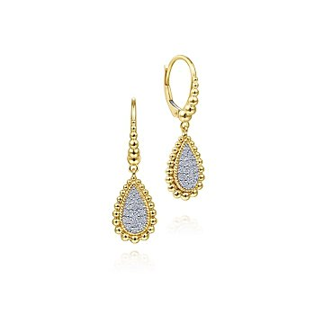Teardrop Pave' set Diamond Dangles