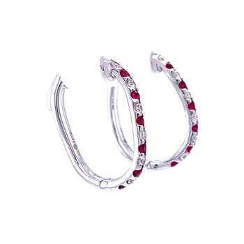 Ruby & Diamond Hoops with a Twist