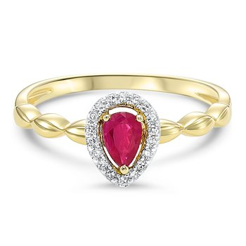 Ruby Pear Shape with Halo