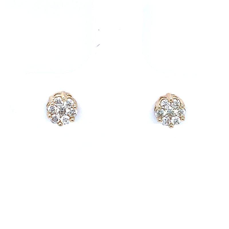Bryan Beauties Flower Cluster Earrings 1/4ctw 10ky