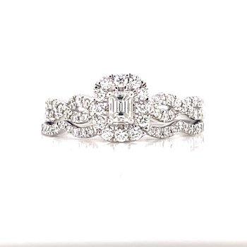Bliss Bridal Emerald Cut Wedding set