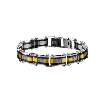 Double Sided Black Plated with Gold Plated & Steel Mesh Reversible Bracelet