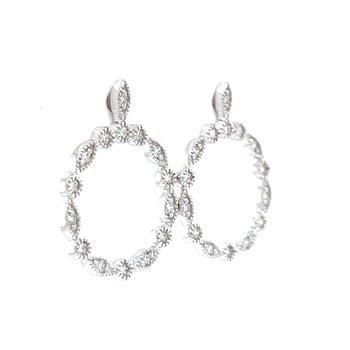 Dazzling Diamond Frame Circle Earrings