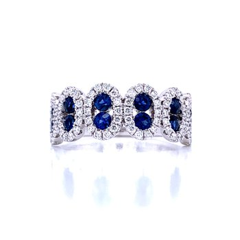 Vision of Vivid Blue Sapphire and Diamond Band