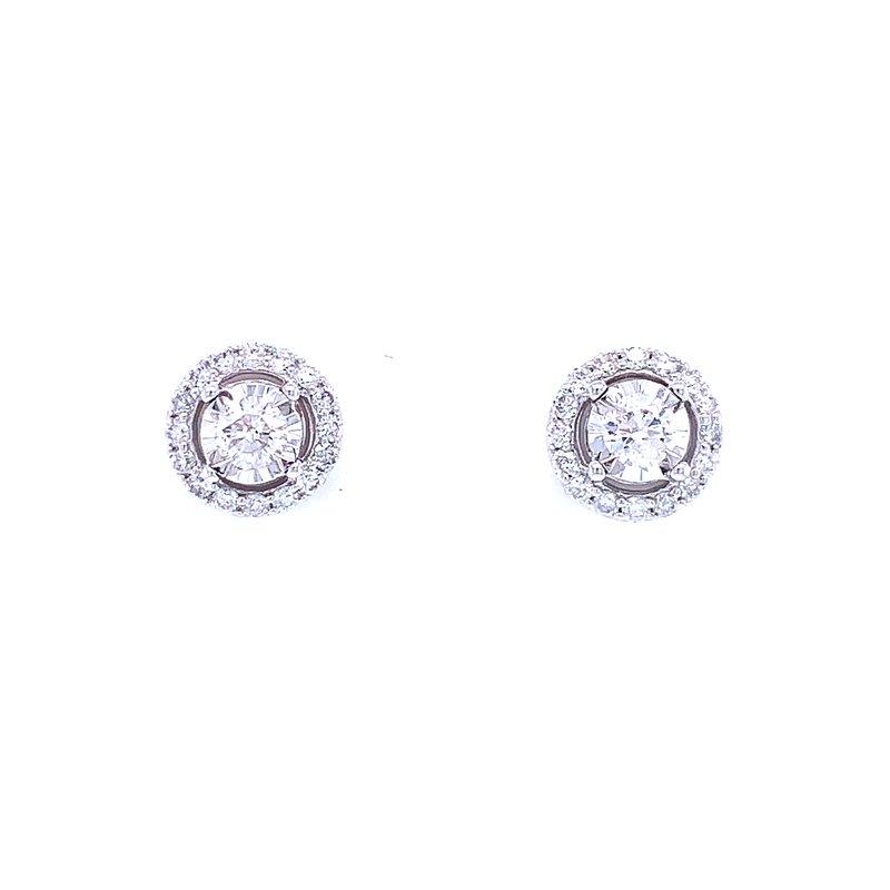 Bryan Beauties Tru-reflections Halo Diamond Studs 1/2ctw
