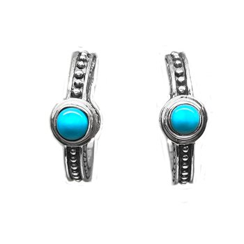 Timeless Turquoise and Sterling Silver Hoop Earrings