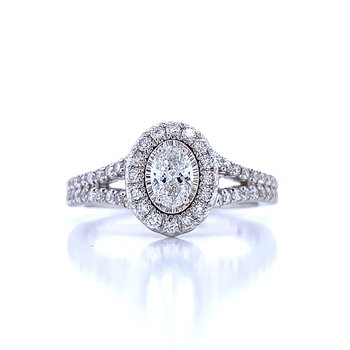 Tru-reflections Oval Halo Engagement Ring