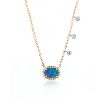 Australian Opal and Diamond Bezel Necklace