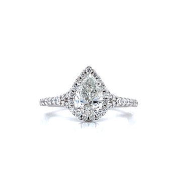 Romance Pear Shaped Halo Engagement Ring