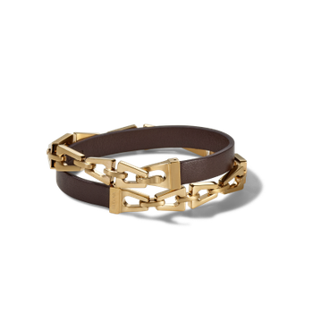Brown Leather Wrap Bracelet - Gold-tone
