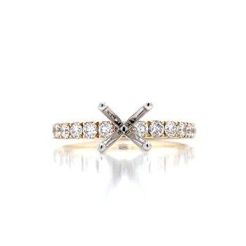 Prestigious Diamond Semi-mount to match 1/2ctw Band-14ky
