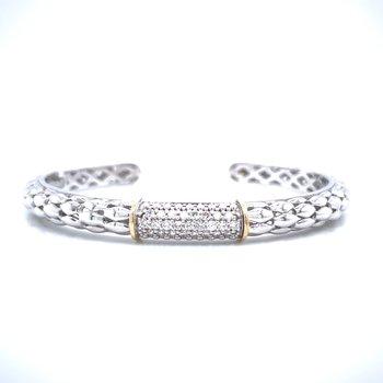 Pave' Set Diamond Cuff  Bangle Bracelet