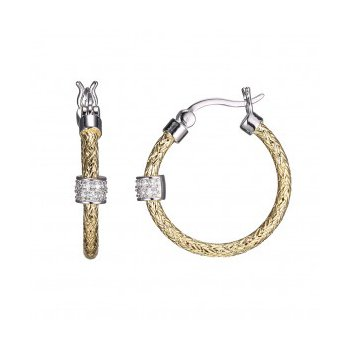 Sterling Silver 2mm Mesh Earrings with CZ, Round approximate 25mm, 2 Tone, 18K Yellow Gold and Rhodium Finish