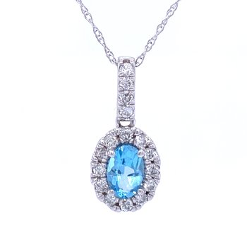 Oval Blue Topaz & Diamond Pendant