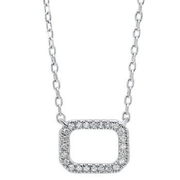 Dainty Delicacies Open Rectangle Diamond Pendant