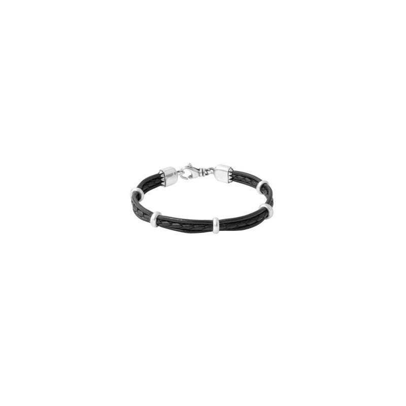 King Baby Multi stranded leather Bracelet with silver rondelle beads