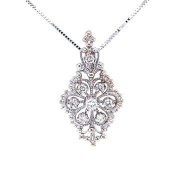 Vintage Cluster Diamond Pendant-white gold
