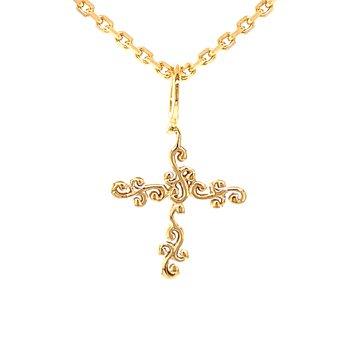 Scroll Cross Necklace-14ky