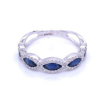 Sapphire & Diamond Gemstone Band