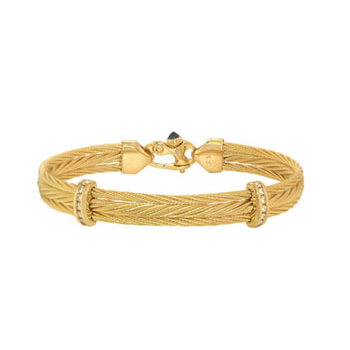 Triple 14K yellow gold cable bracelet