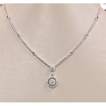 Estate Double Halo Diamond Necklace