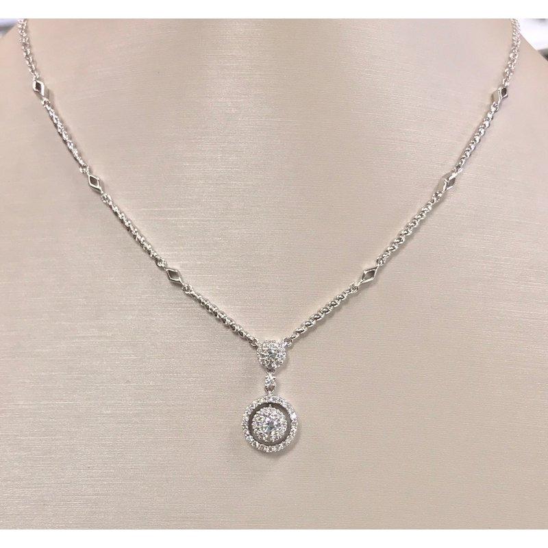Estate Double Halo Diamond Necklace