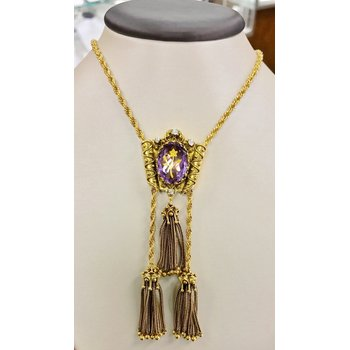 Vintage Tassel Rope Lariat Style Amethyst Necklace