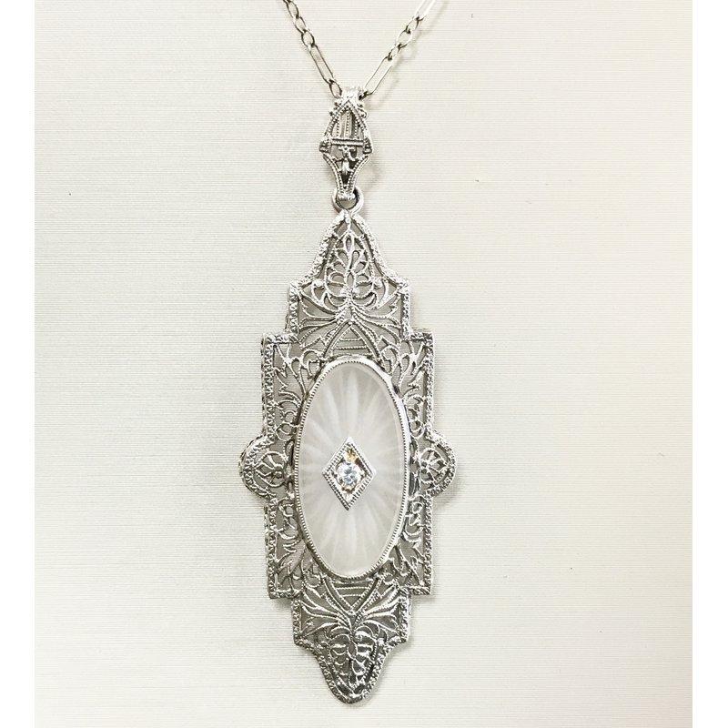 Art Deco Platinum and Camphor Glass Diamond Pendant