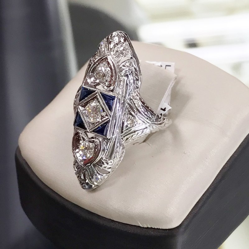 The Legacy Collection Art Deco Diamond and Sapphire Ring