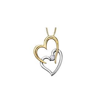Double heart diamond pendant
