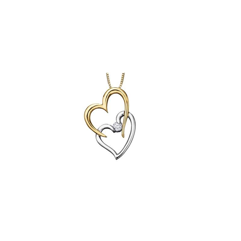 I Am Canadian Double heart diamond pendant