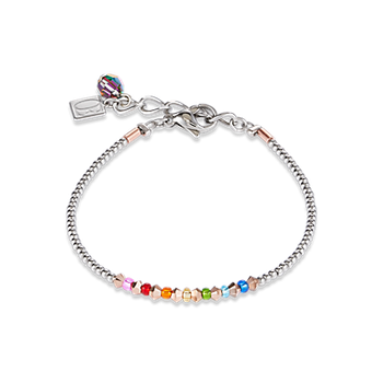 Bracelet Ring Crystals pavé multicolour small rose gold & silver