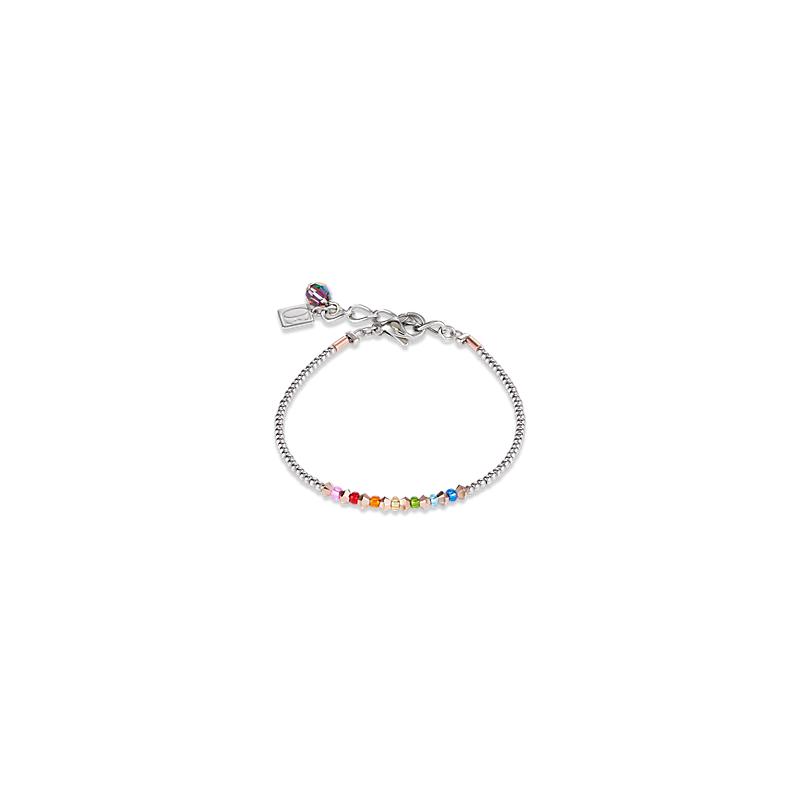 Coeur De Lion Bracelet Ring Crystals pavé multicolour small rose gold & silver