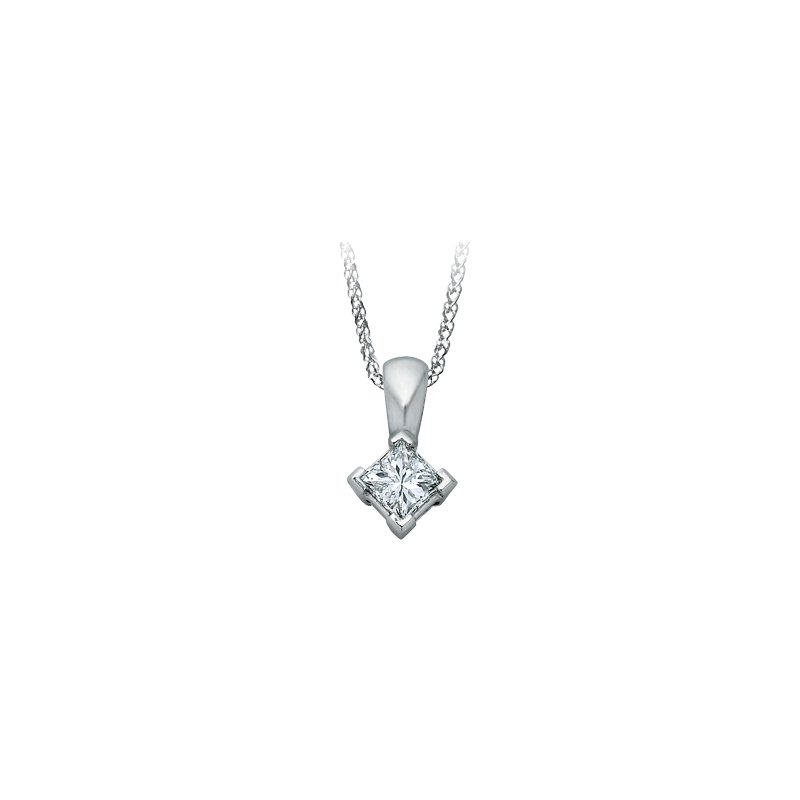 I Am Canadian Princess cut diamond solitare pendant