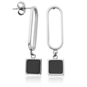 STEELX Black Enamel Oval Earring in Stainless Steel.