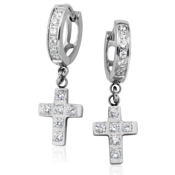Crystal Cross Earrings
