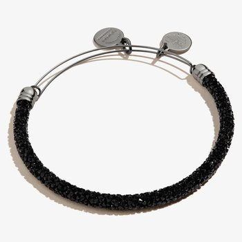 Crystal Fine Rocks Beaded Bangle, Black