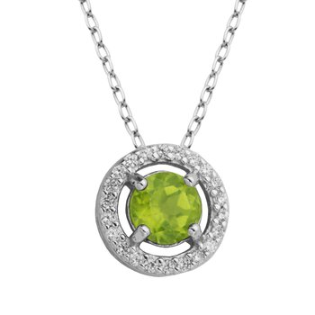 Birthstone Halo Pendant- August