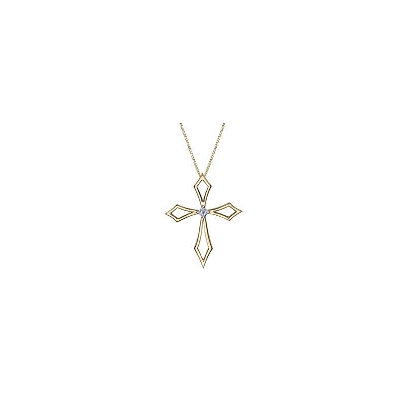 I Am Canadian Diamond cross pendant