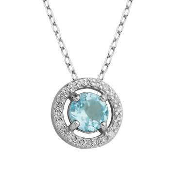 Birthstone Halo Pendant- December