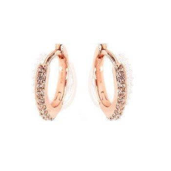 CZ Sparkle Rose Gold Huggie Hoop Earrings