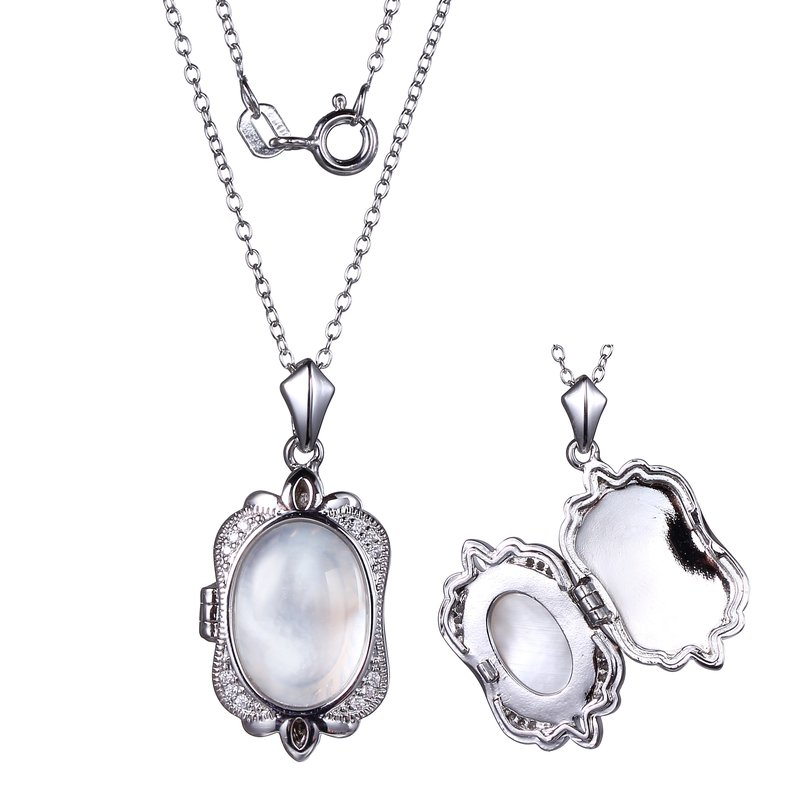 Reign Mother of Pearl CZ locket